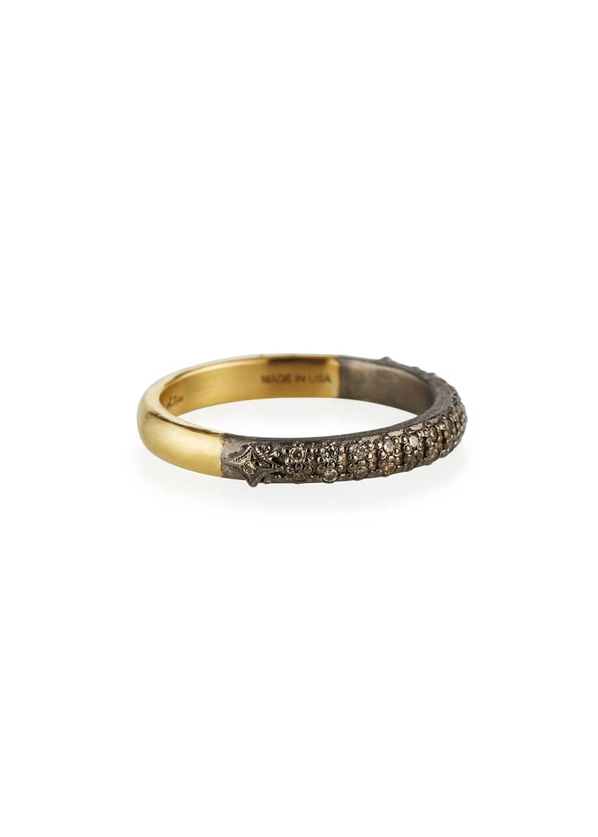Image 2 of 2: Old World Halfway Diamond Stack Ring, Size 6.5