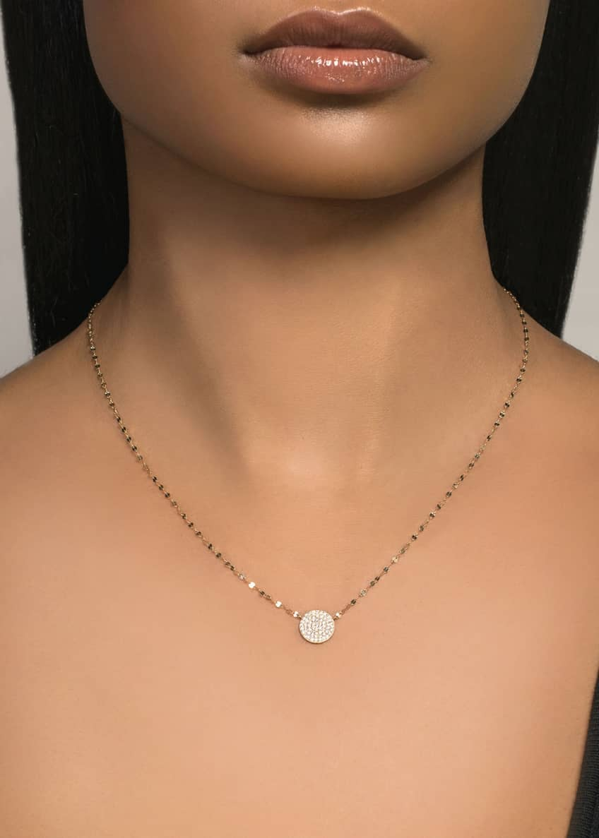 Image 2 of 2: 14k Diamond Pave Disc Pendant Necklace