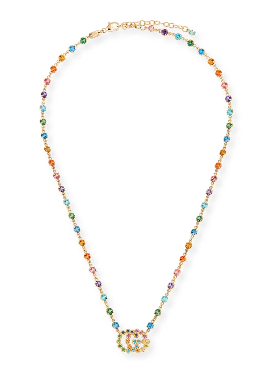 Gucci Running G Necklace with Topaz, Citrine &