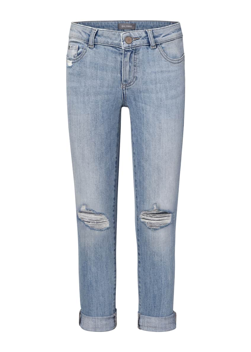 DL1961 Premium Denim Girls' Harper Distressed Boyfriend Jeans,