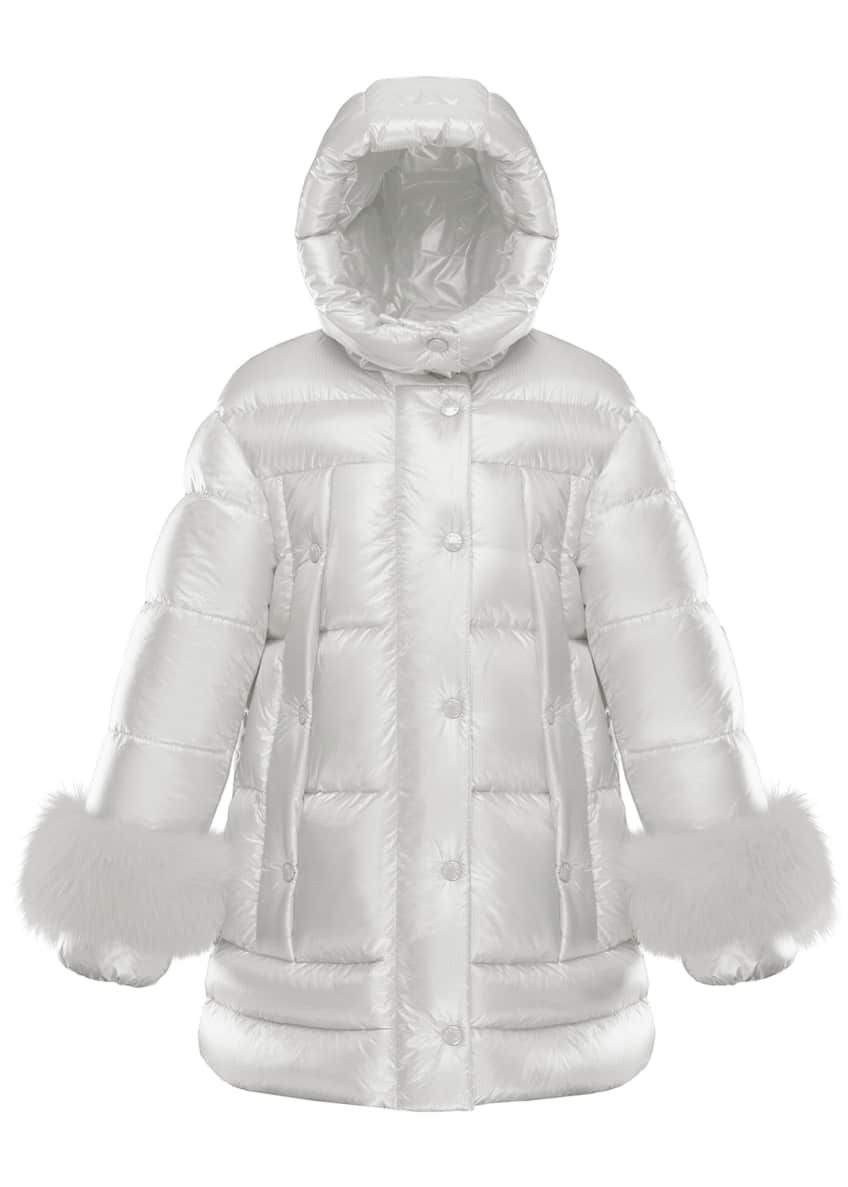 Image 1 of 2: Girl's Brionnais Quilted Long Coat w/ Fur Trim, Size 4-6
