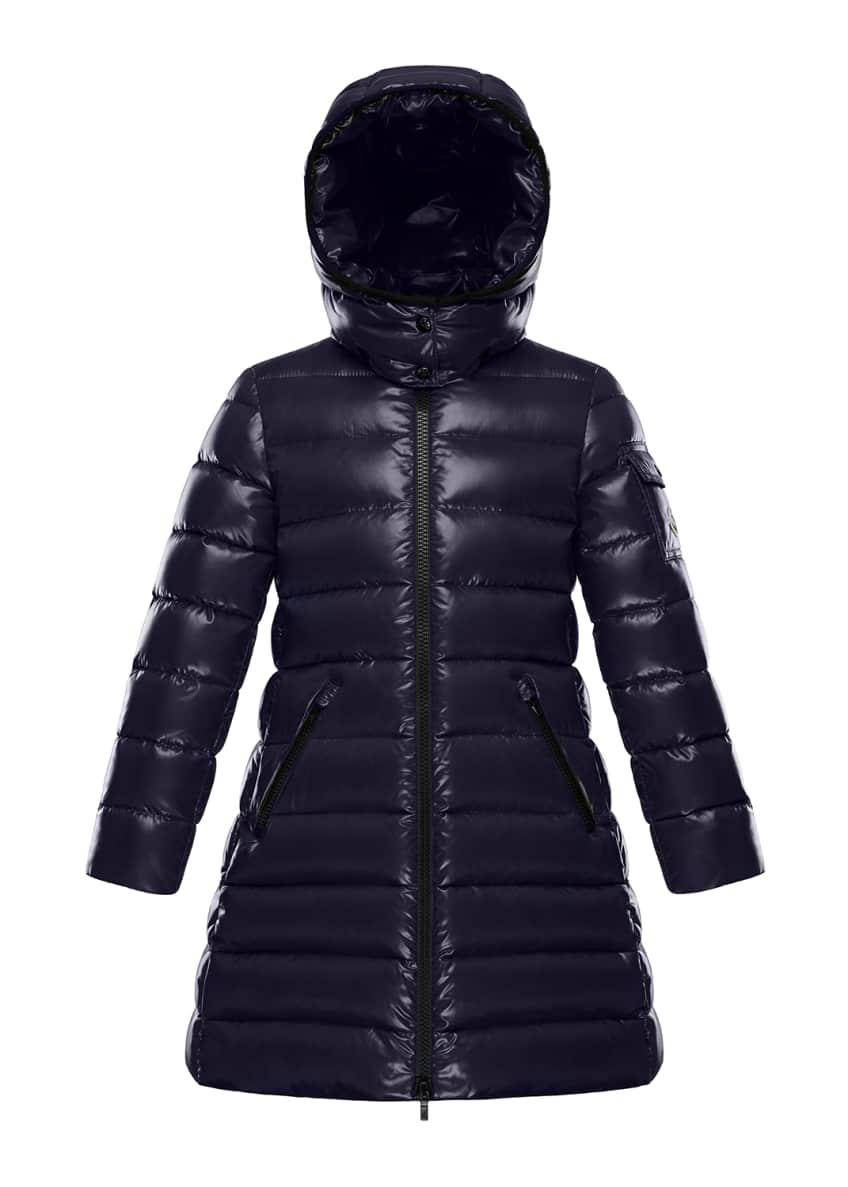 Image 1 of 3: Moka Laque Mini Me Quilted Hooded Long Coat, Size 4-6
