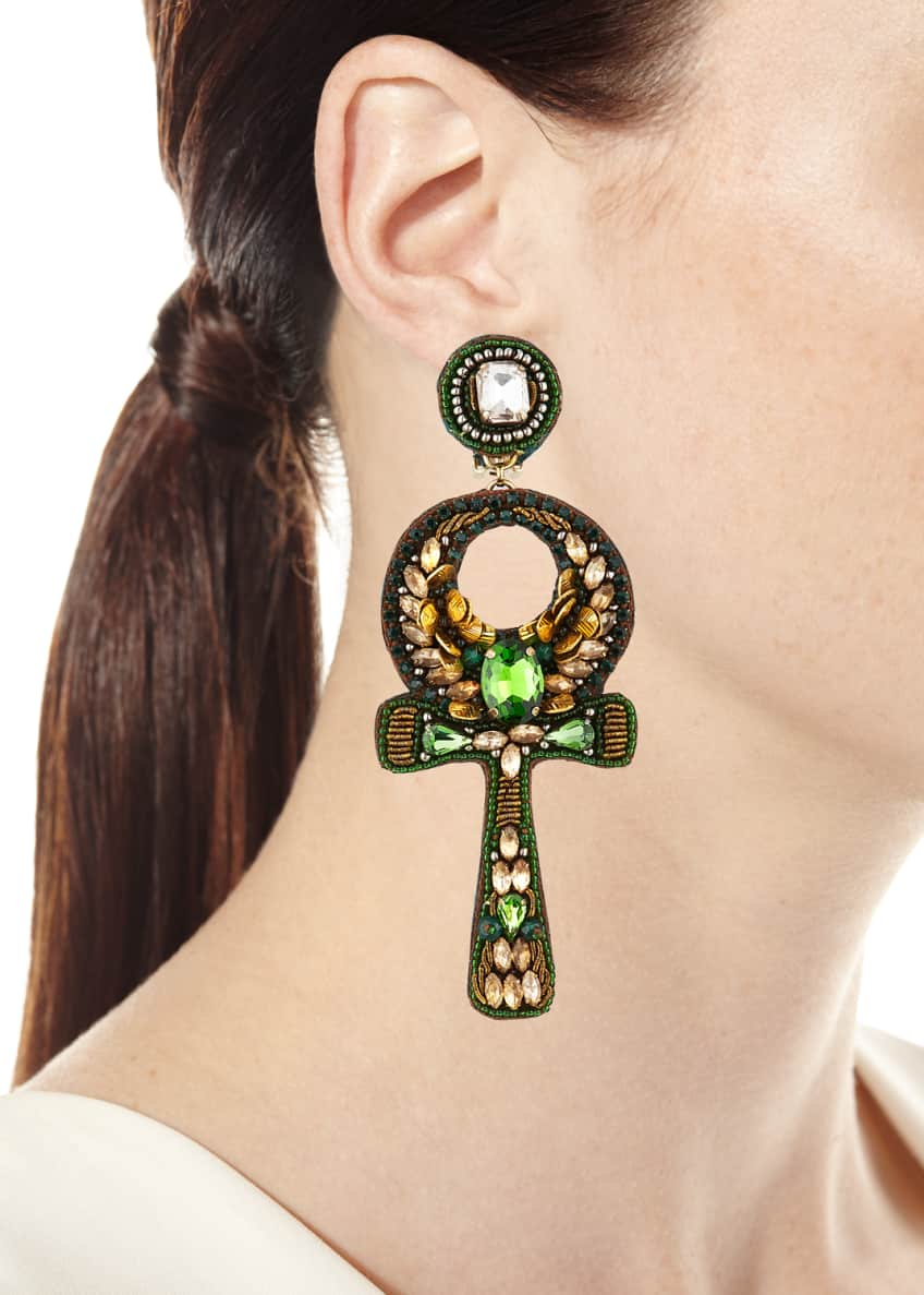 Image 2 of 2: Safiya Ankh Clip Earrings