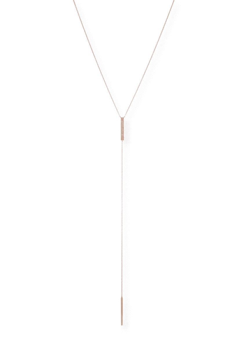 Ef Collection Jumbo Bar Diamond Lariat Necklace, Rose