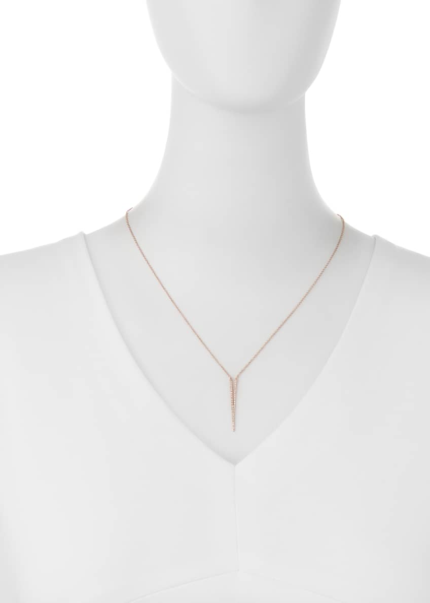 Image 2 of 2: Split Dagger Diamond Pendant Necklace, Rose Gold