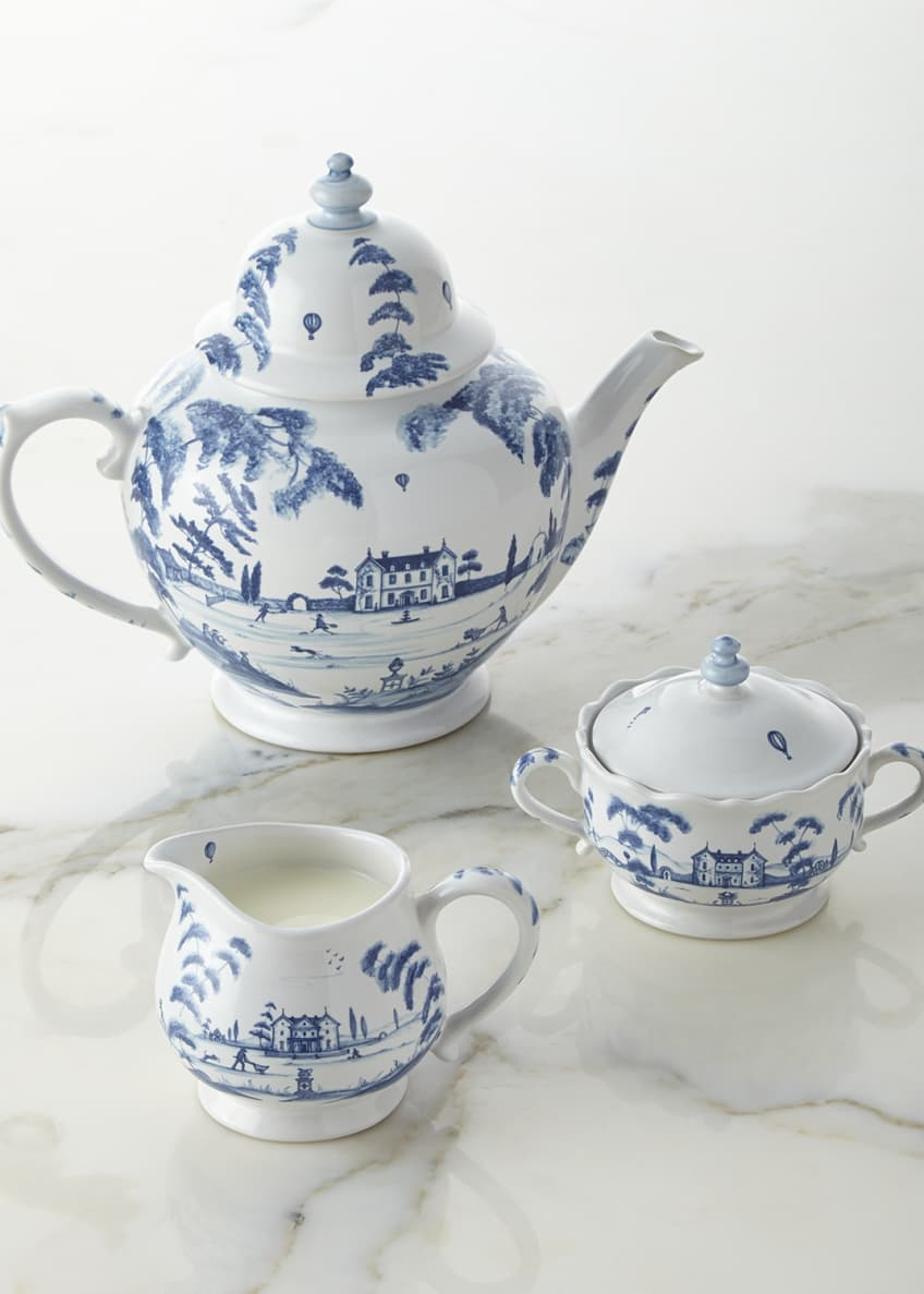 Image 1 of 1: Country Estate Delft Blue Teapot, Sugar Bowl, & Creamer