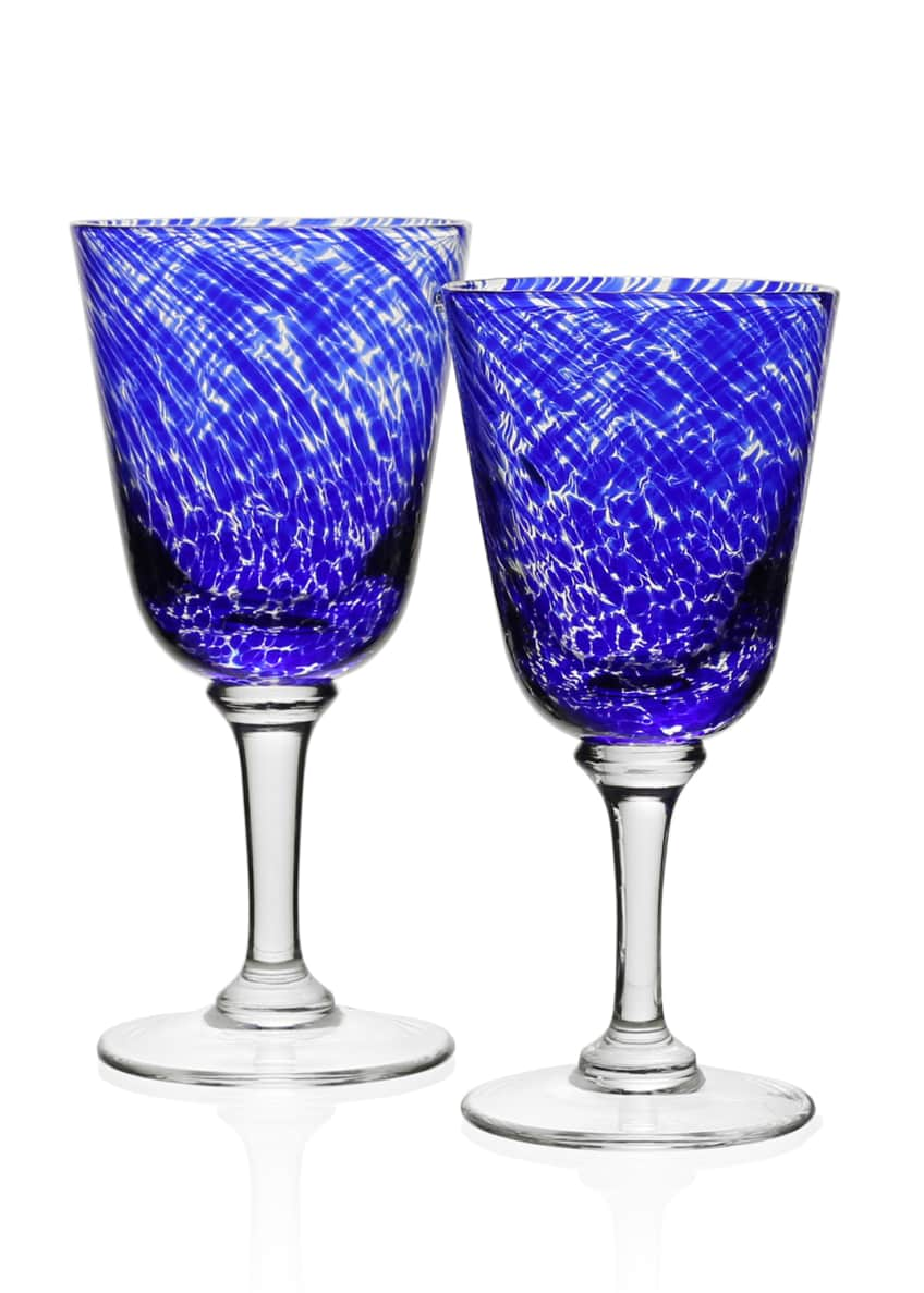 Image 2 of 2: Vanessa Glass Water Goblet, Blue