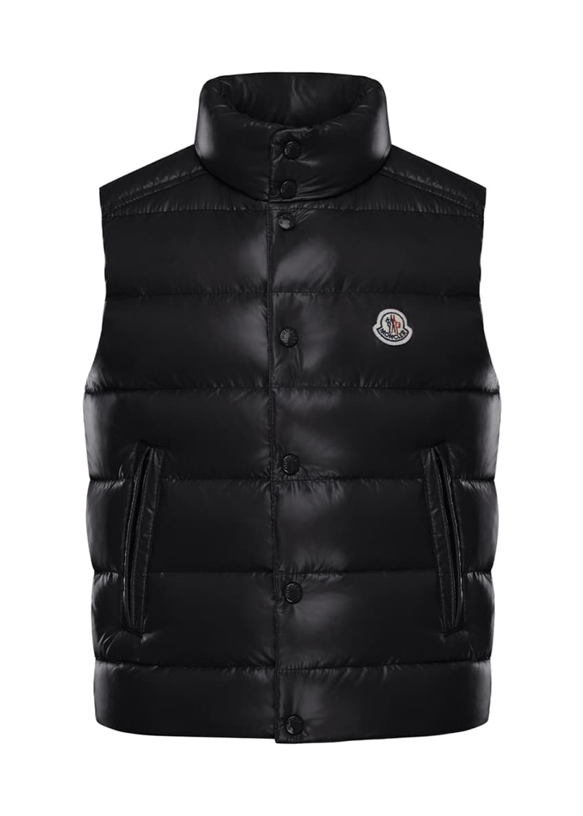 Image 3 of 4: Quilted Nylon Snap-Front Puffer Vest, Size 4-6