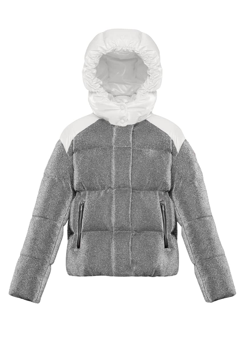 Image 3 of 4: Chouette Sparkles Detachable-Hood Puffer Coat, Size 8-14