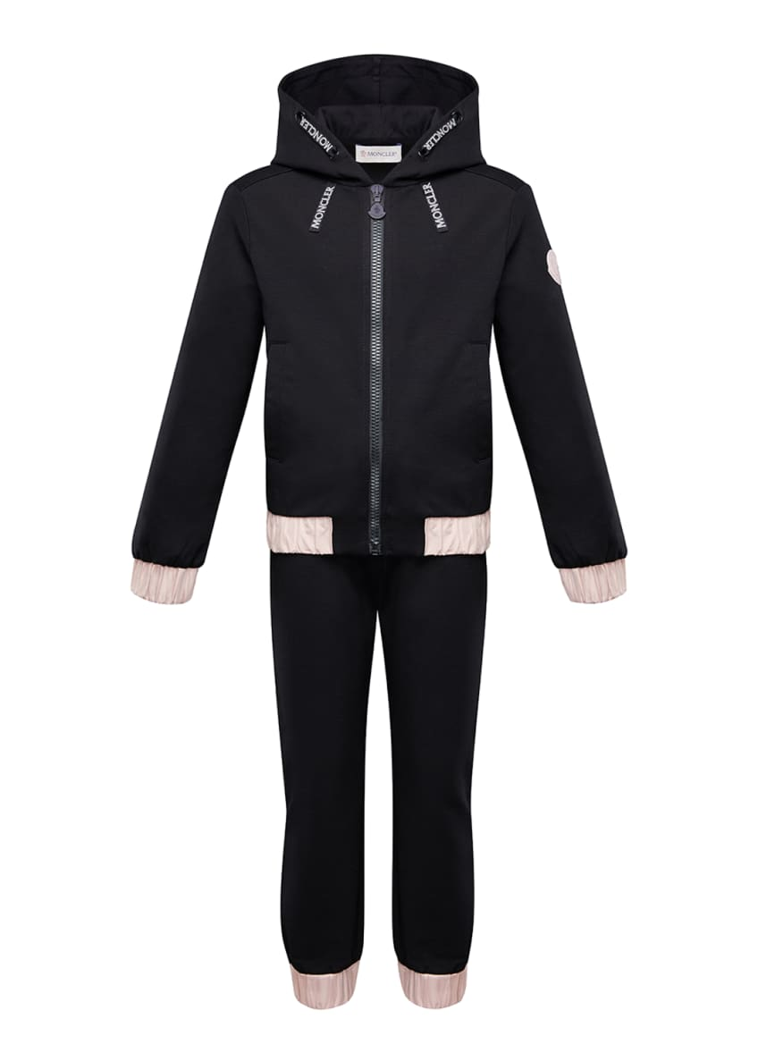 Image 3 of 4: Contrast-Trim Hoodie w/ Matching Sweatpants, Size 4-6