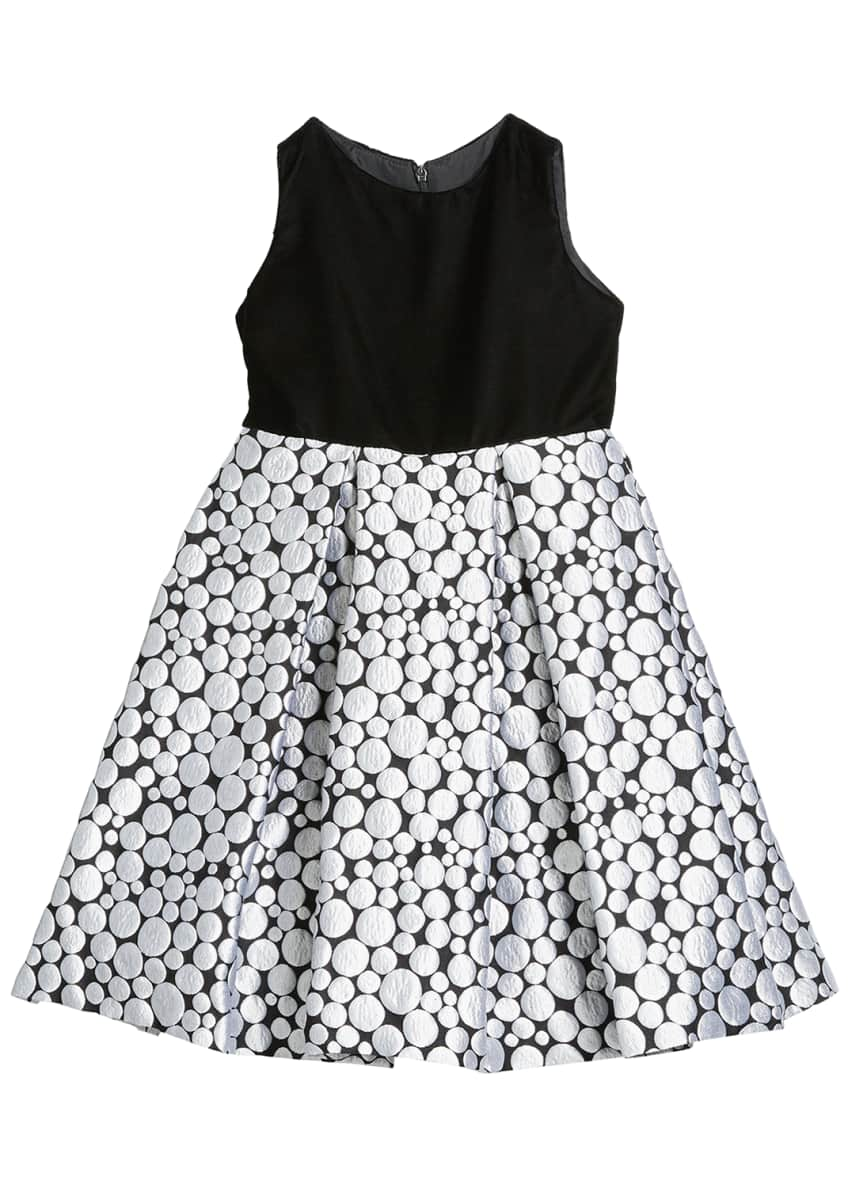 Image 3 of 3: Girl's Bubble Brocade Skirt w/ Velvet Top Dress, Size 12M-3