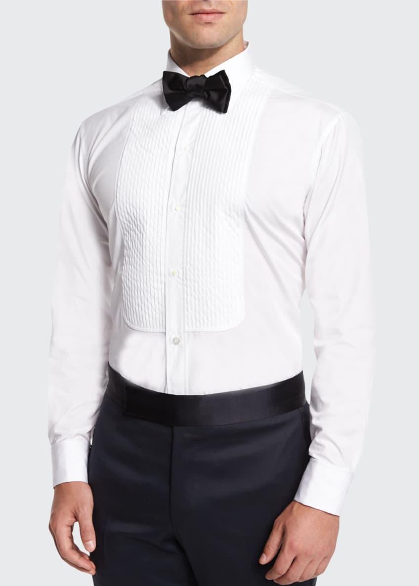 Charvet Basic Pleated Cotton Dress Shirt & Silk