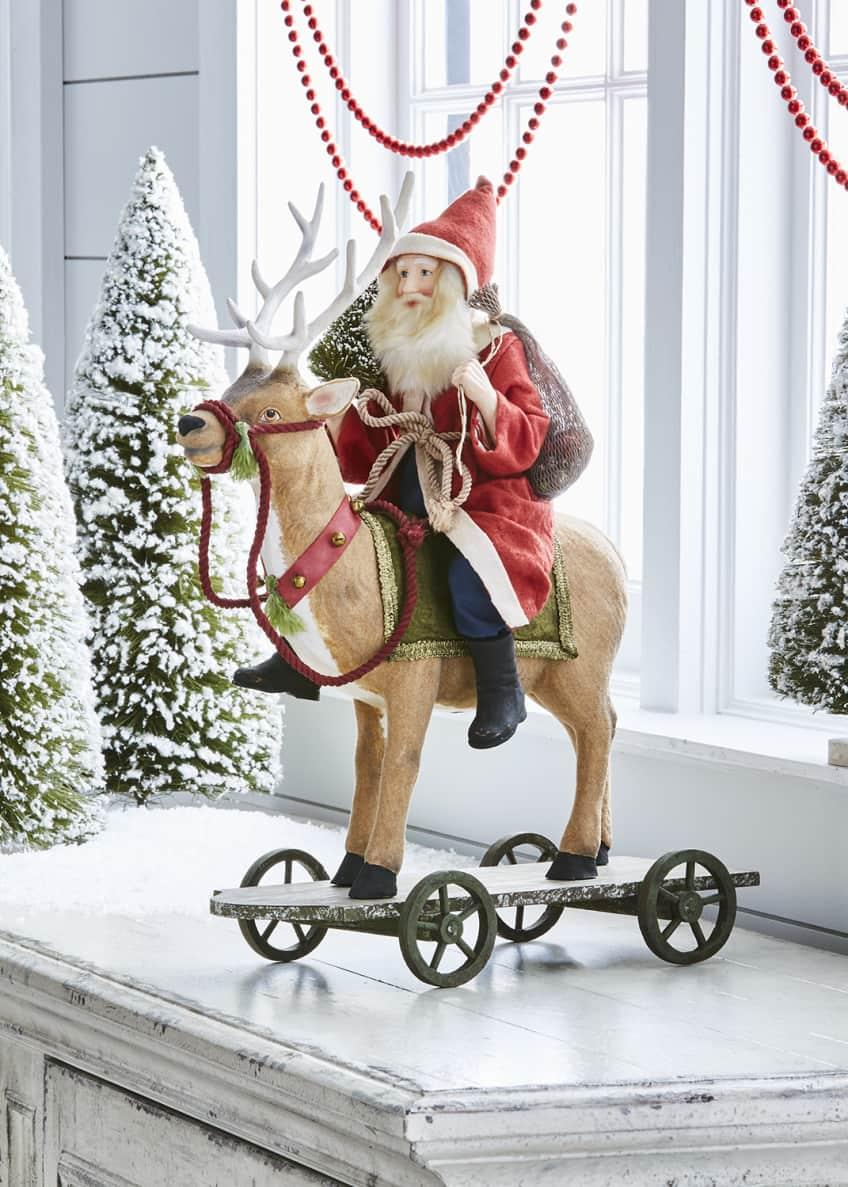 Bethany Lowe Vintage-Style Santa Riding Reindeer
