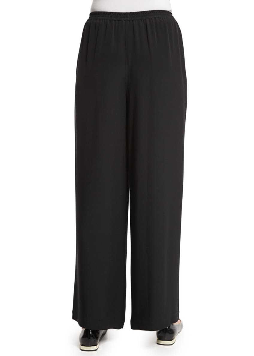 Image 3 of 7: Flared Wide-Leg Silk Trousers