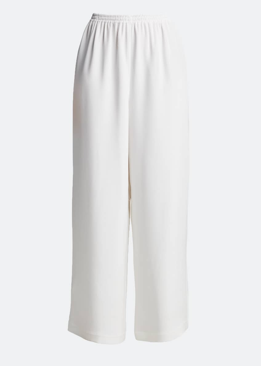 Image 5 of 7: Flared Wide-Leg Silk Trousers