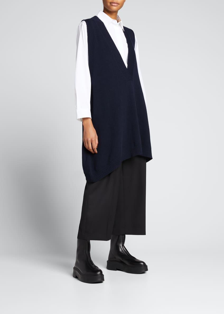 Eskandar A-Line Sleeveless Deep-V Long Cashmere Sweater &