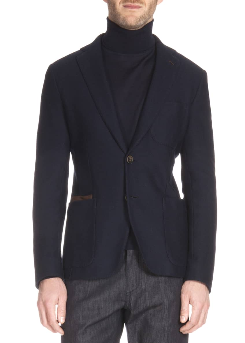 Berluti Knit Blazer with Leather Trim & Long-Sleeve
