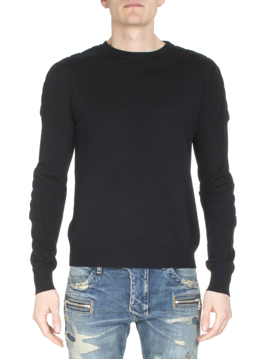 Balmain Asymmetric Puffer Moto Jacket, Crewneck Long-Sleeve