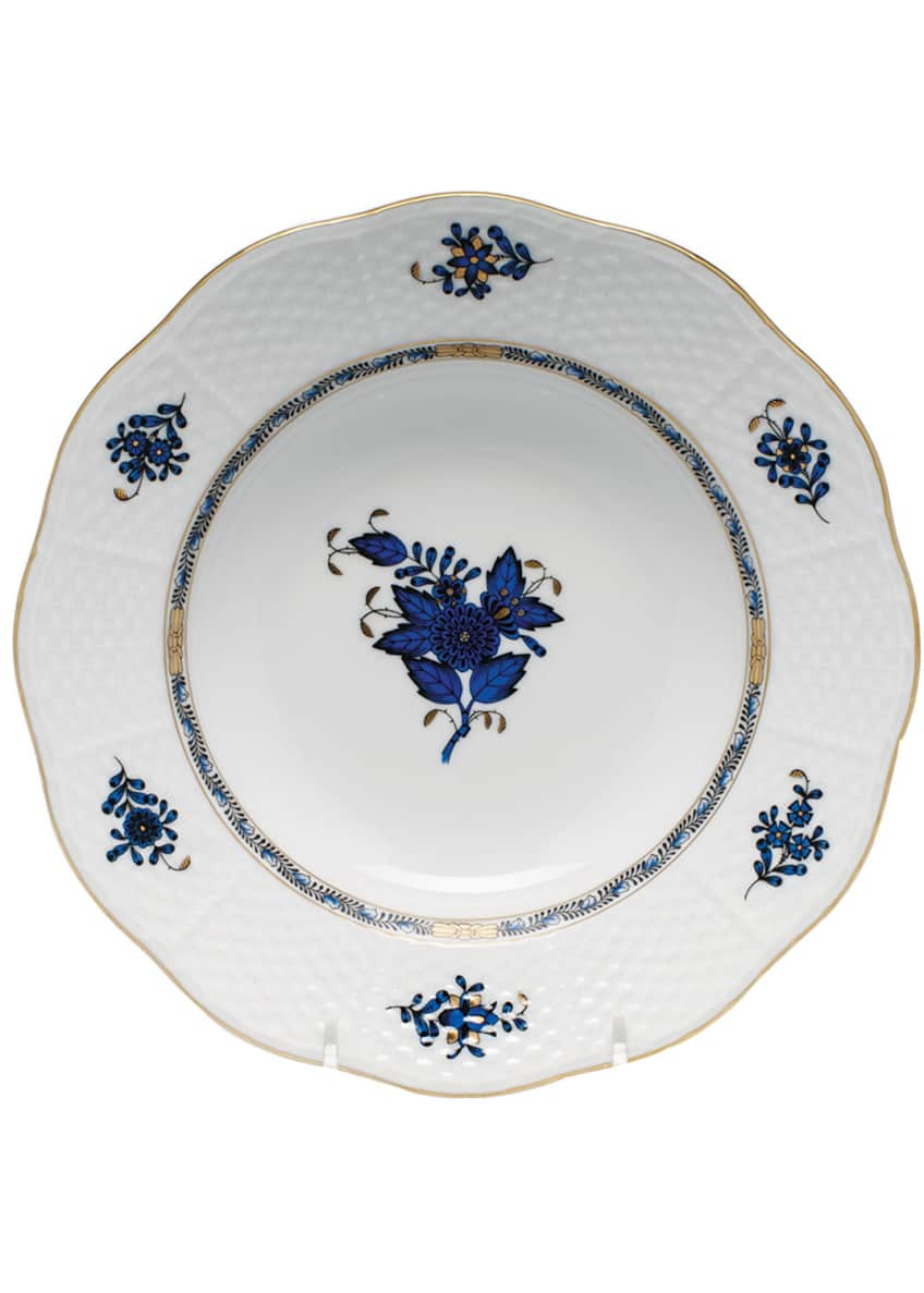 Herend Chinese Bouquet Black Sapphire Rim Soup Bowl