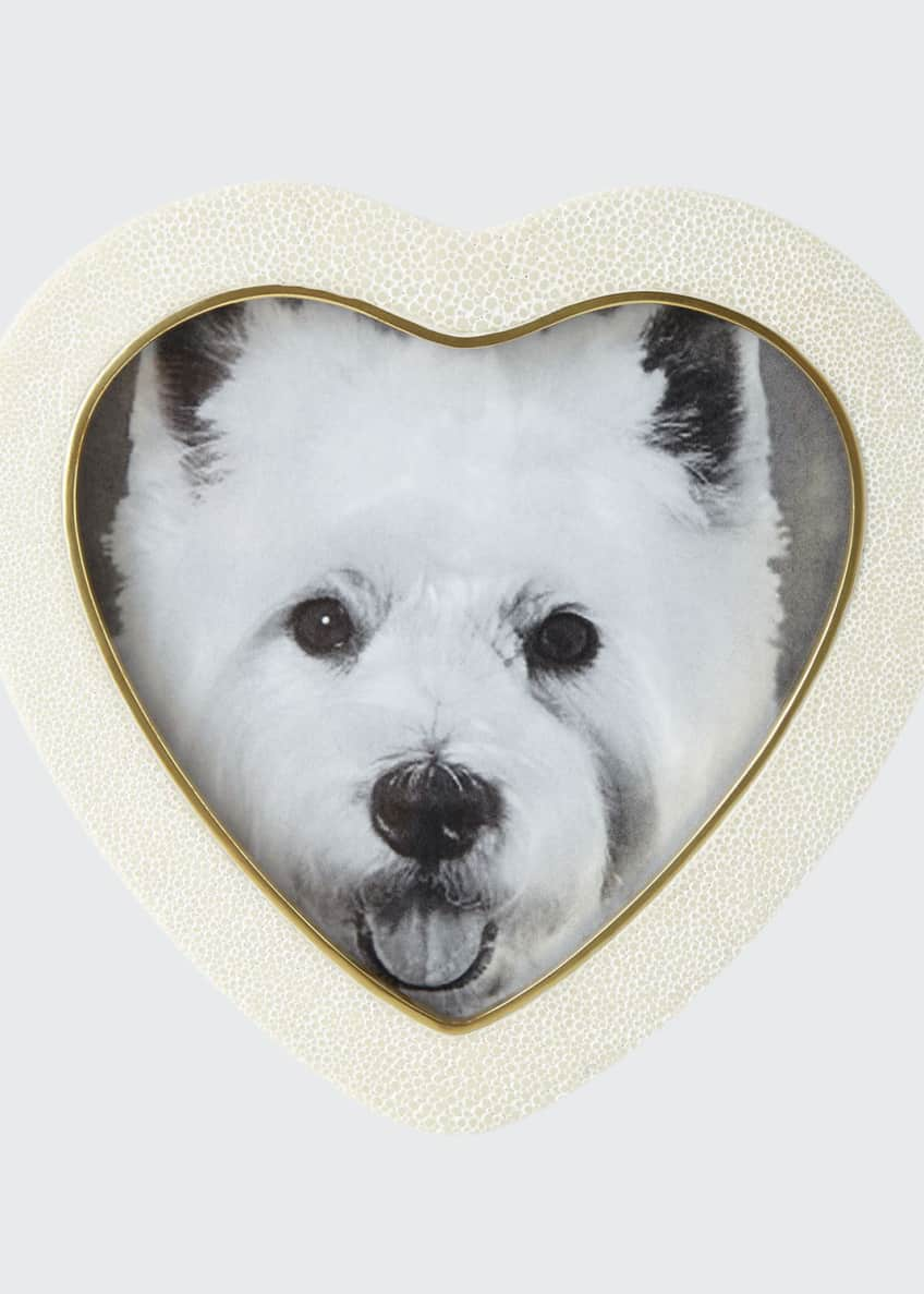 AERIN Cream Faux-Shagreen Heart Picture Frame