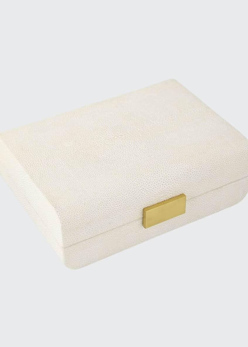 AERIN Cream Faux-Shagreen Small Decorative Box