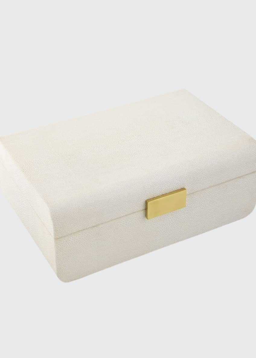 AERIN Cream Faux-Shagreen Decorative Boxes & Matching Items