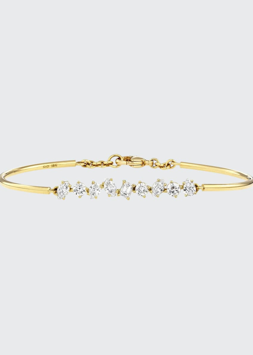 Kimberly McDonald 18K Gold Mixed Diamond Bar Wire