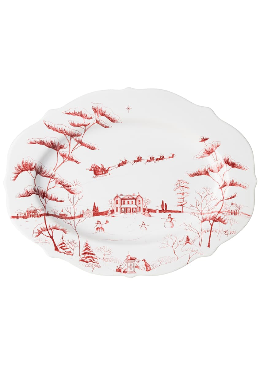 Juliska Country Estate Winter Frolic Ruby Serving Platter