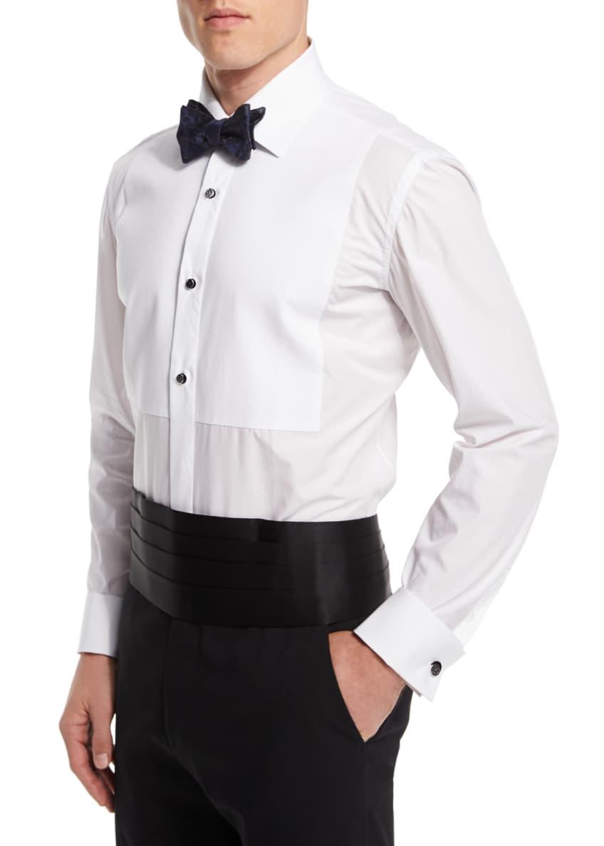 Borrelli Long-Sleeve Pique-Bib Dress Shirt, Floral Silk Jacquard