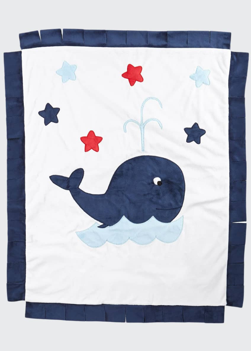 Boogie Baby Plush Whale Blanket, White/Navy & Matching