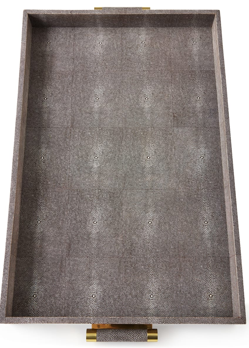 AERIN Chocolate Faux-Shagreen Butler Tray