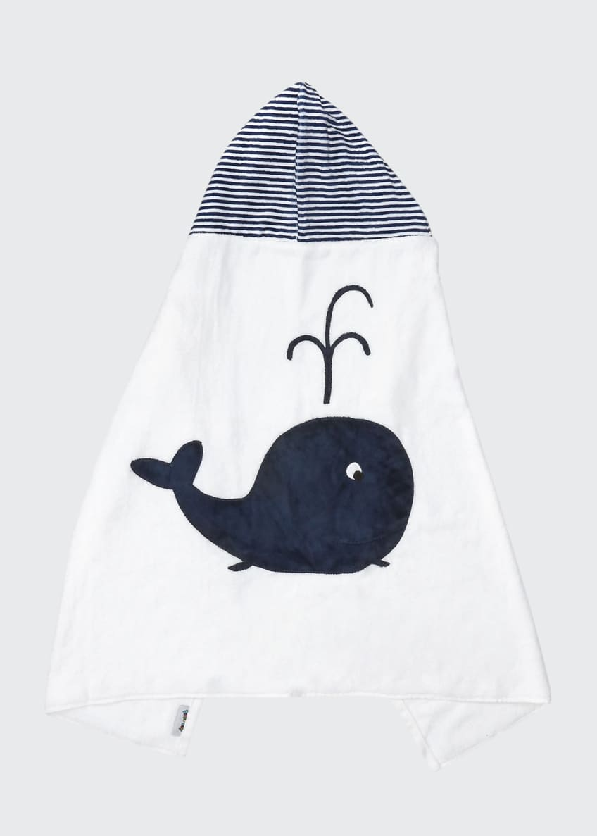 Image 1 of 2: Hooded Whale Towel, White/Blue