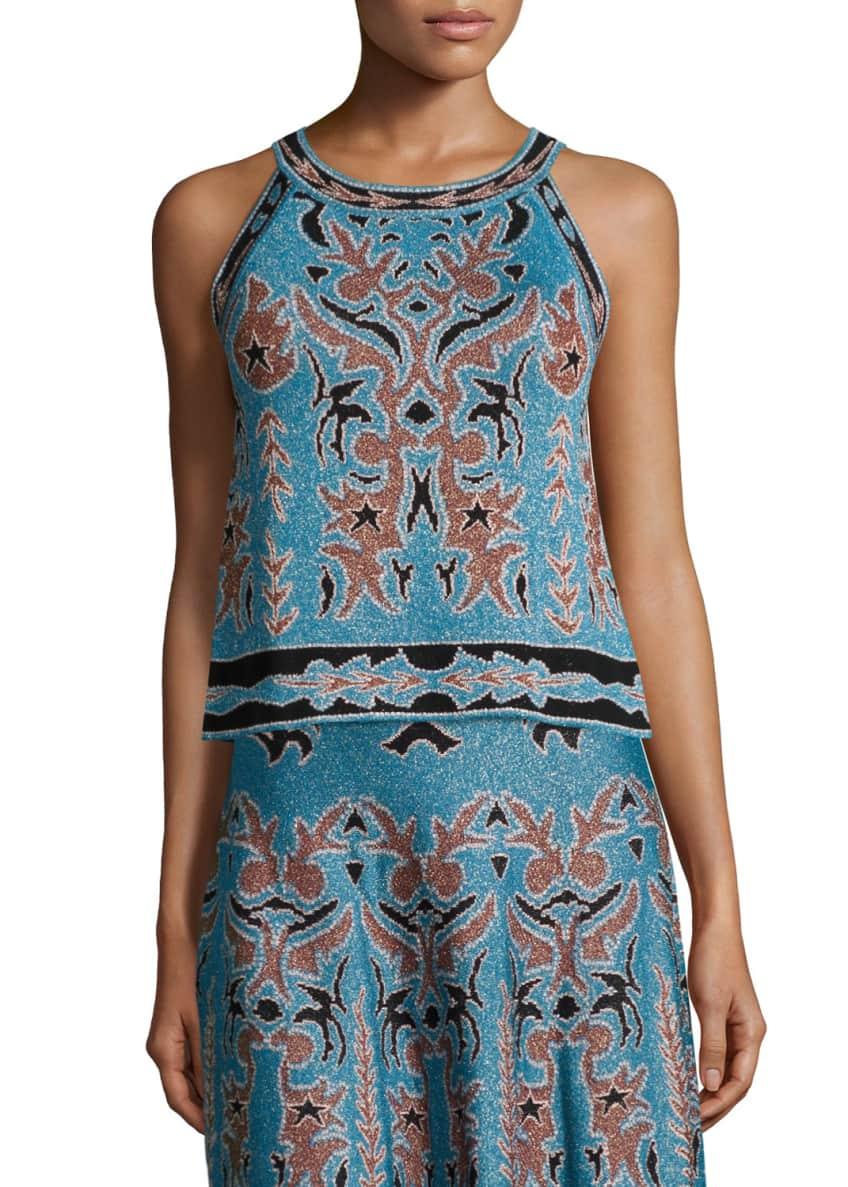 M Missoni Metallic Embroidered Jacquard Sleeveless Top &