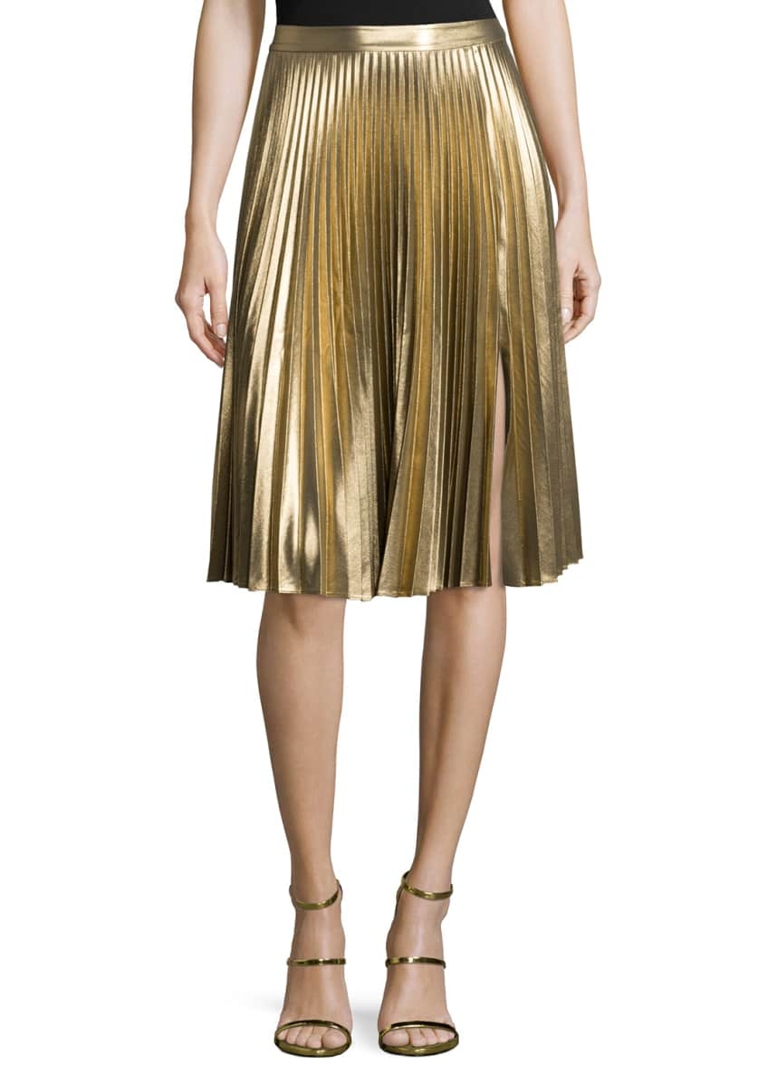A.L.C. Rene Metallic Ribbed Sweater & Gates Pleated