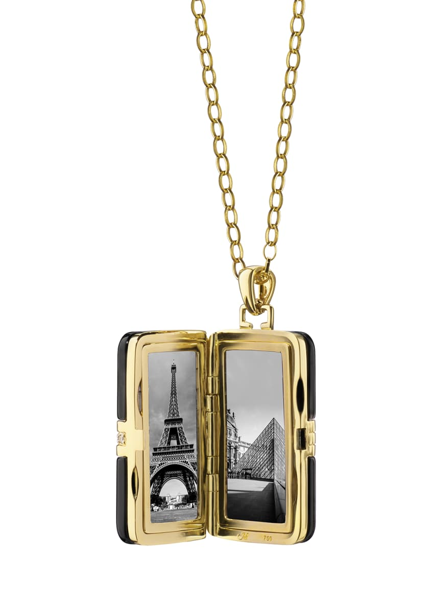 "Image 2 of 2: 18k Ceramic Rectangle Locket with Diamonds, 32""L"