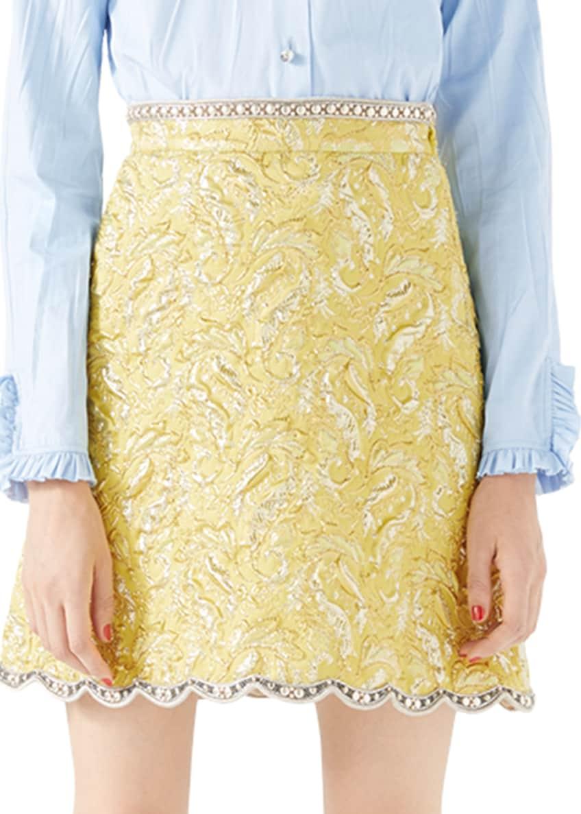 Metallic Floral Brocade Jacket, Skirt & Washed Oxford