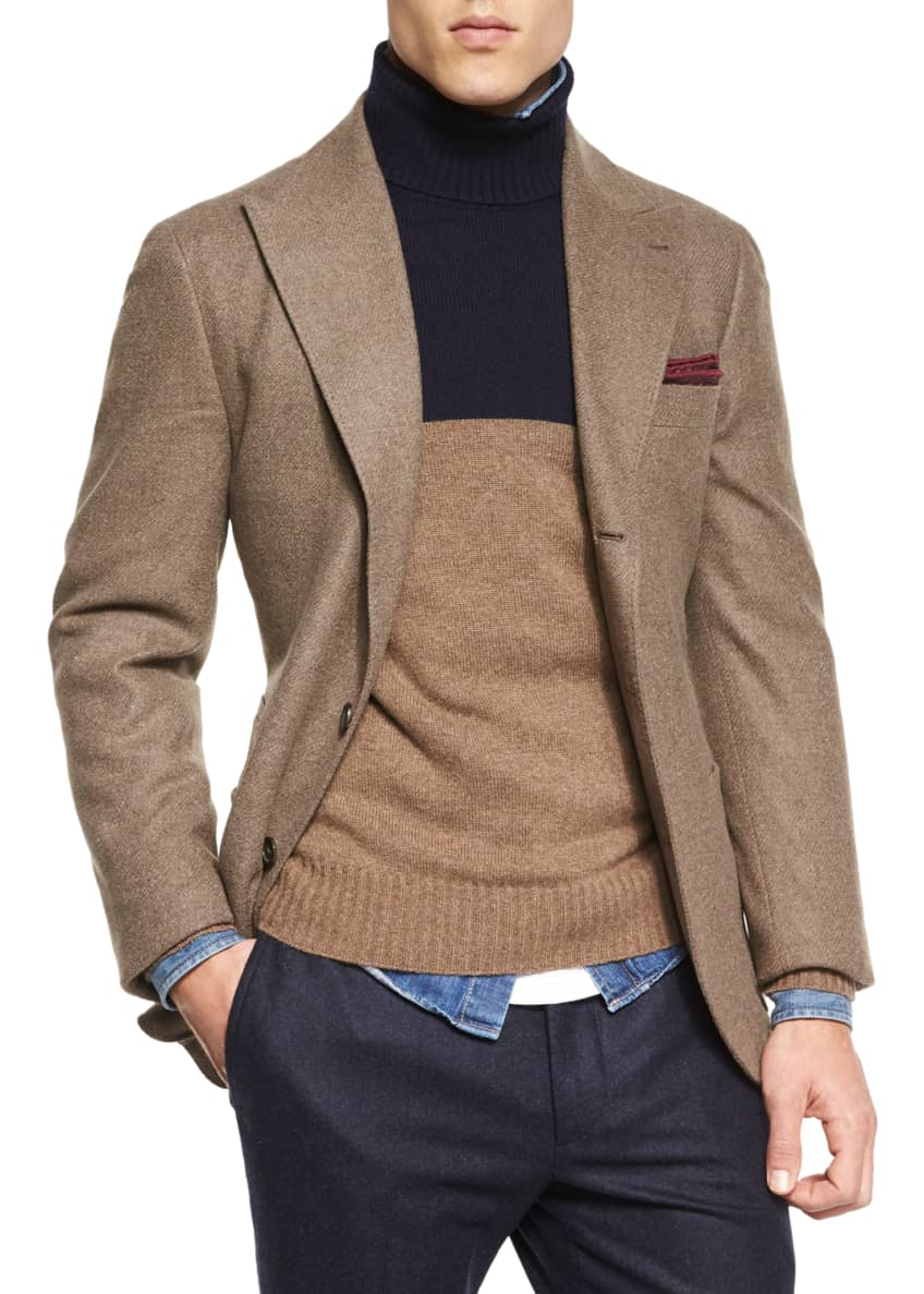 Brunello Cucinelli Plaid Double-Breasted Wool Overcoat, Flannel