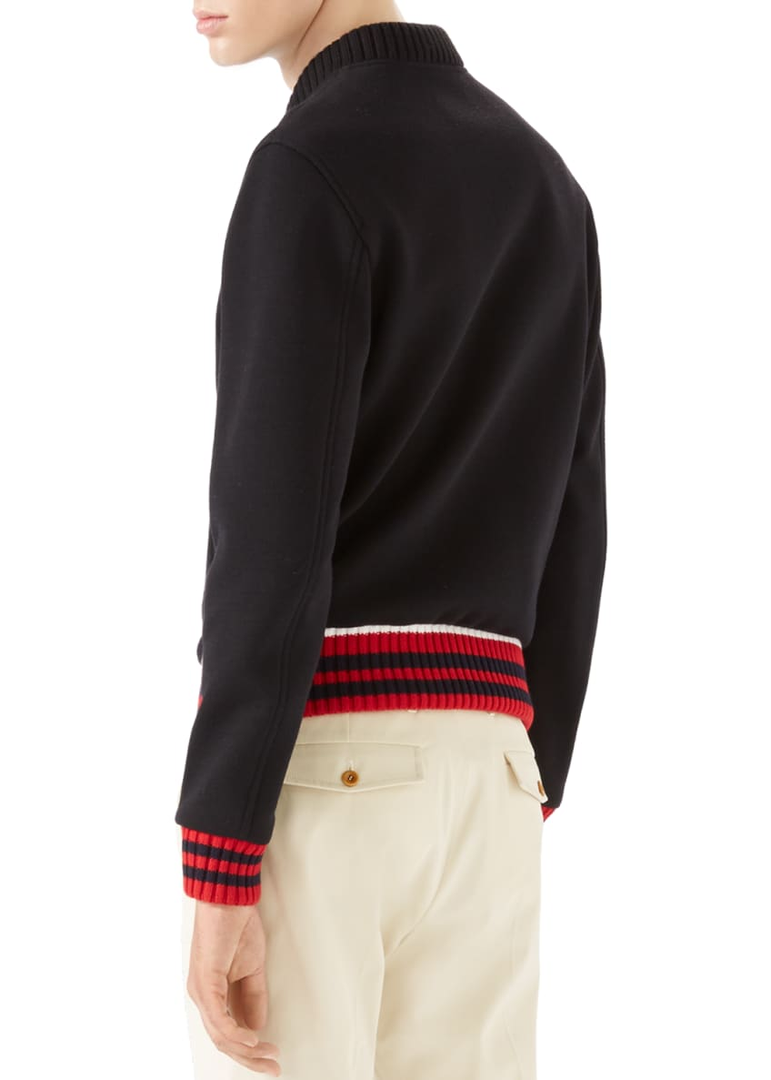 Image 2 of 6: Caspian Felt College Zip-Front Sweater, Black