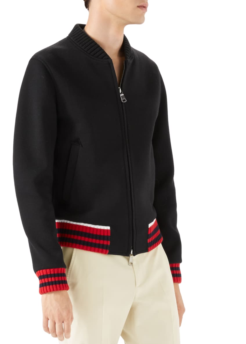 Image 1 of 6: Caspian Felt College Zip-Front Sweater, Black