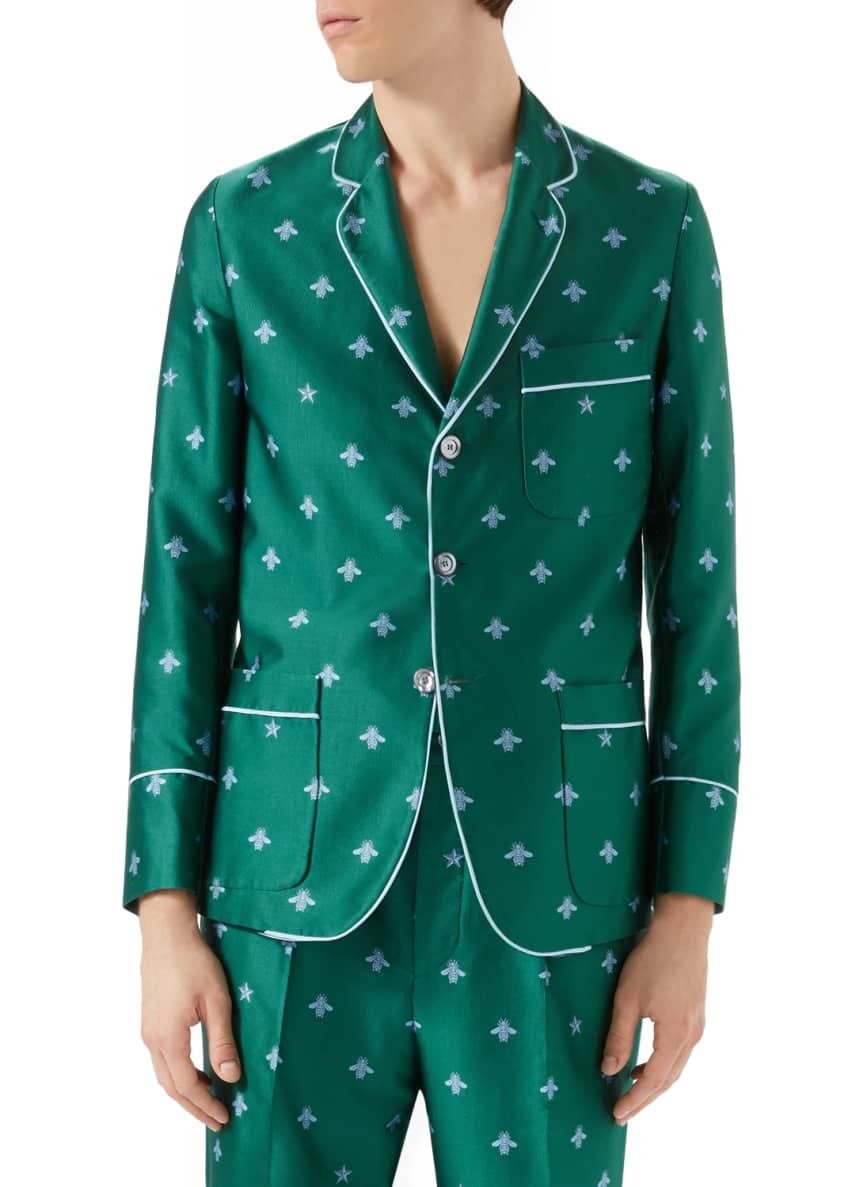 Gucci Bee-Embroidered Jacquard Jacket & Bee-Embroidered Jacquard