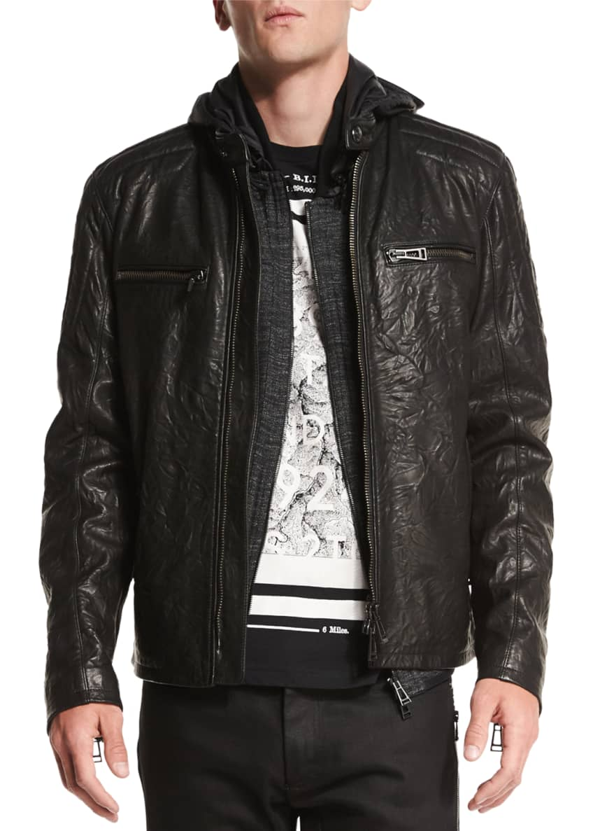 Belstaff Archer Coated Leather Jacket, Felton Marled Fleece