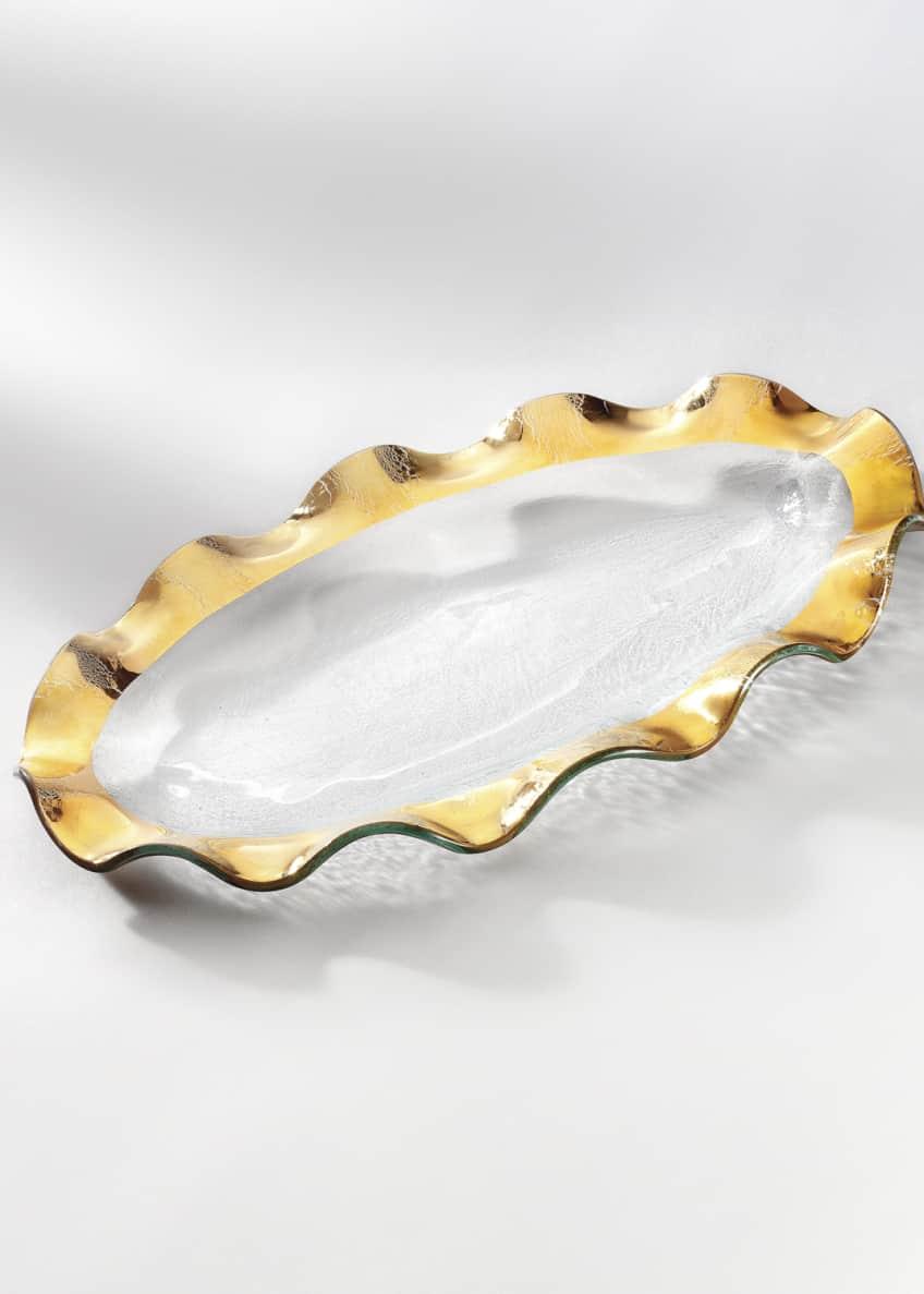 Annieglass Ruffle Gold Oval Platter