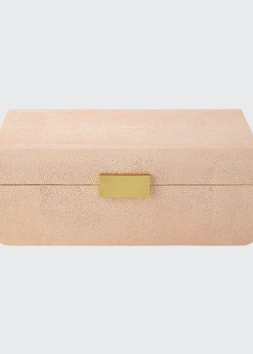 AERIN Large Blush Modern Faux-Shagreen Decorative Box