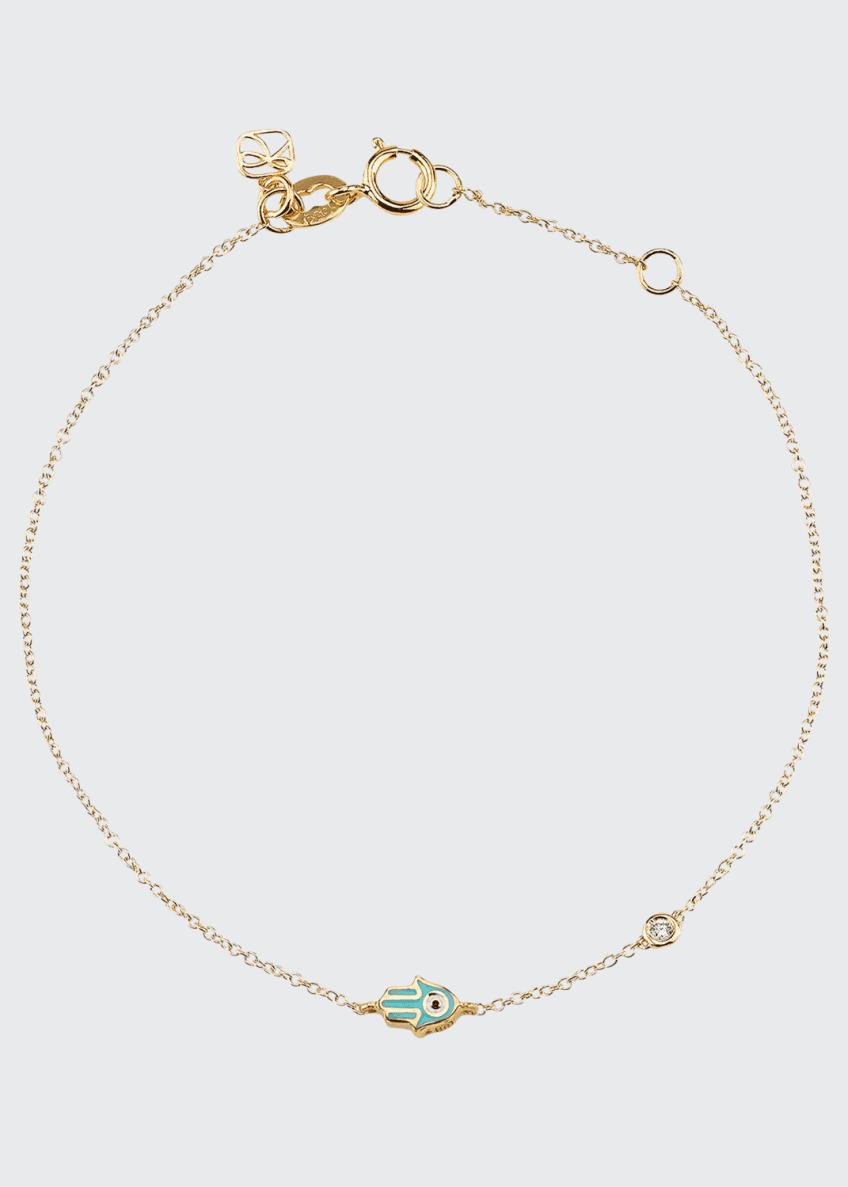 Sydney Evan 14k Mini Enamel Hamsa Bracelet w/