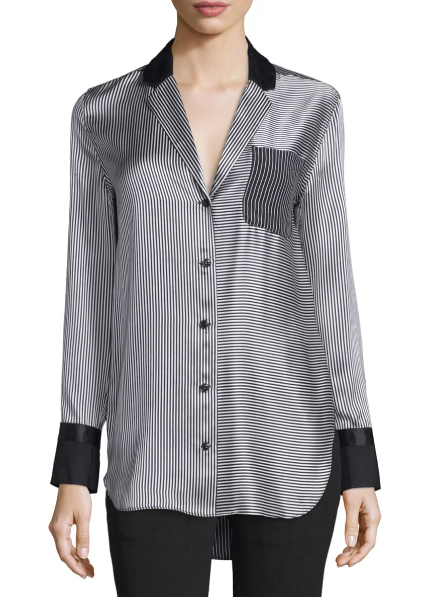 Rag & Bone Farah Silk Charmeuse Striped Blouse