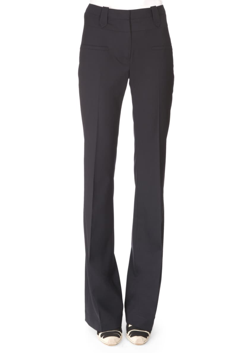 Altuzarra Wool One-Button Eyelet-Trim Blazer & Wool Flare-Leg