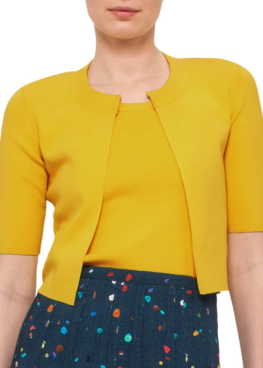 Akris punto Half-Sleeve Cropped Knit Cardigan, Knit Wool