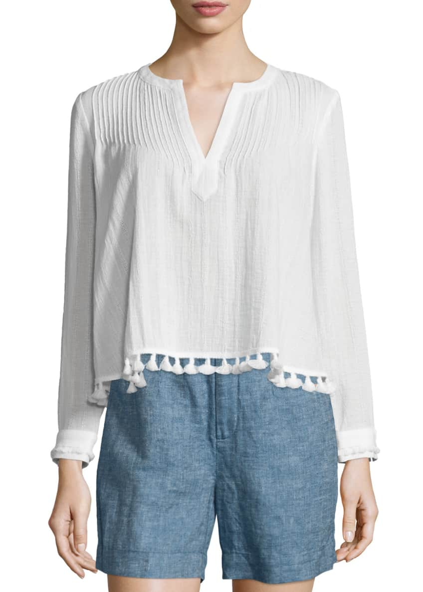 Derek Lam 10 Crosby Boxy Pintucked Tassel-Trim Top