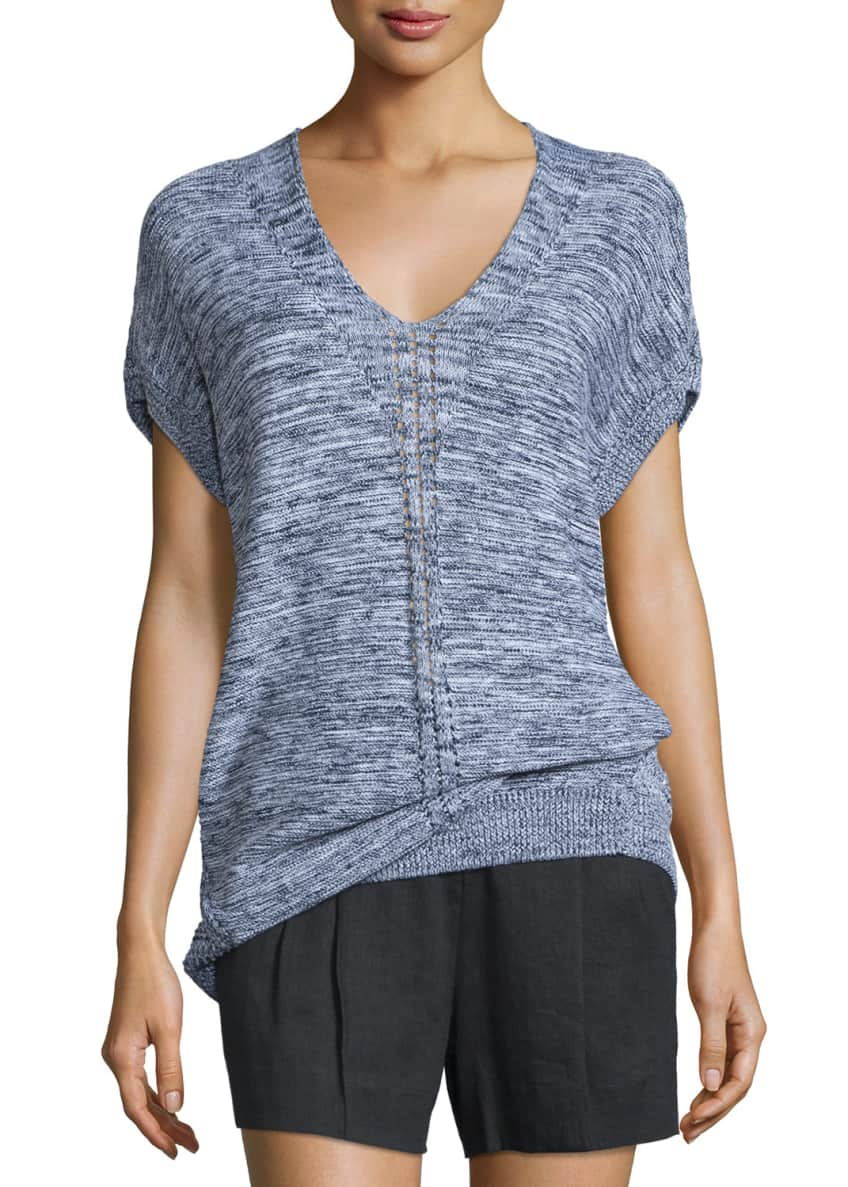 Vince Marled Knit Short-Sleeve Sweater & Solid Linen-Blend