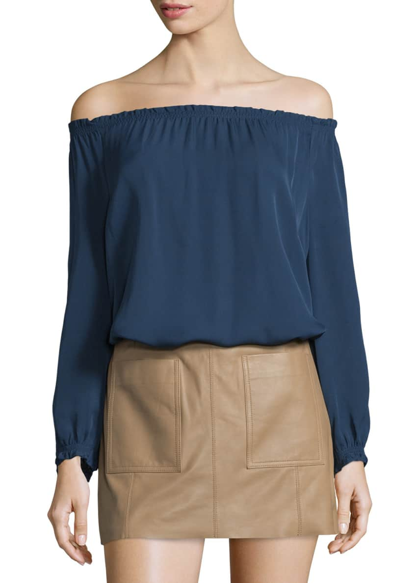 Joie Bamboo Off-The-Shoulder Silk Top & Nephrite Soft